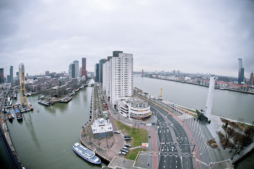 Uitzicht op de Boompjes in Rotterdam
